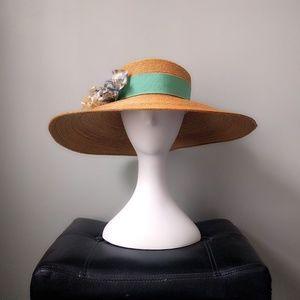 HP ❤️ Vtg Gucci Straw Flower Wide Brim Floppy Hat
